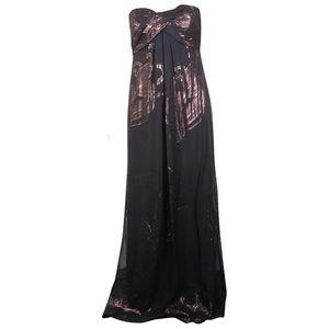 NICOLE MILLER Strapless Blk/Metallic Dress size 8